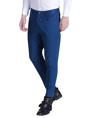 blue cotton chinos casual trousers - 15414569 - Standard Image - 2