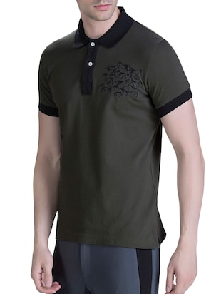 green cotton polo t-shirt - 15414601 - Standard Image - 2