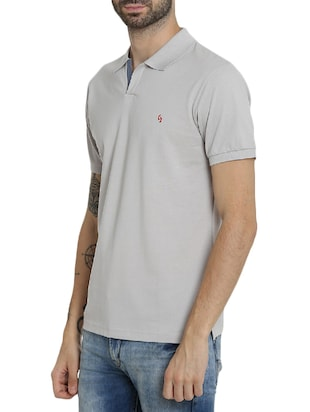 grey cotton polo t-shirt - 15414720 - Standard Image - 2