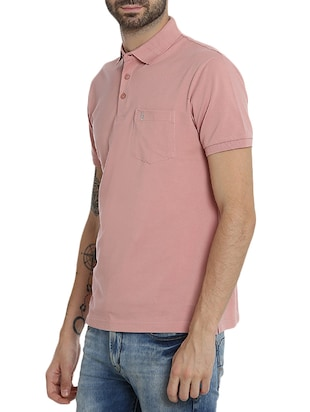 pink cotton pocket  t-shirt - 15414725 - Standard Image - 2