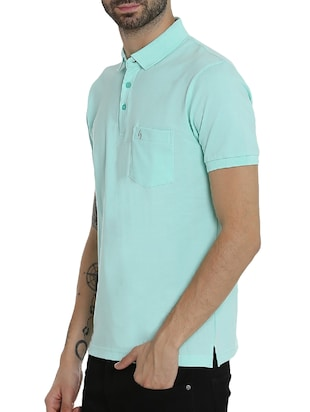light blue cotton pocket  t-shirt - 15414726 - Standard Image - 2