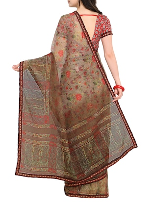 Floral printed saree with blouse - 15414825 - Standard Image - 2