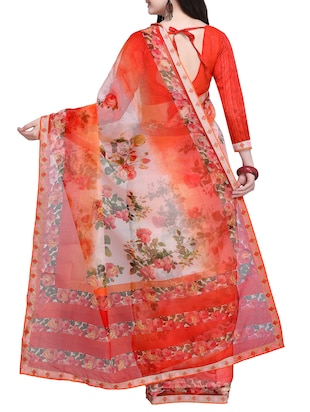 Floral printed saree with blouse - 15414835 - Standard Image - 2