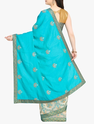 Embroidered half and half saree with blouse - 15414978 - Standard Image - 2
