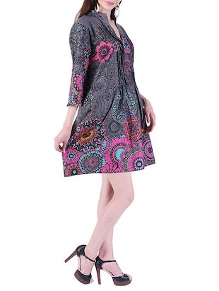 pleated printed a-line dress - 15414984 - Standard Image - 2