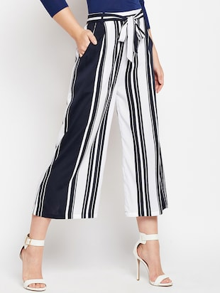 striped belted palazzo - 15415732 - Standard Image - 2