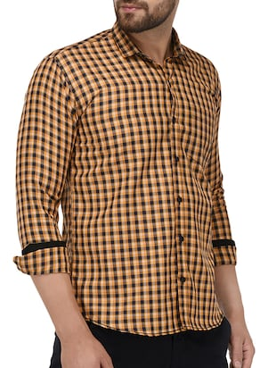 yellow cotton casual shirt - 15415883 - Standard Image - 2
