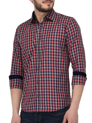 red cotton casual shirt - 15415884 - Standard Image - 2