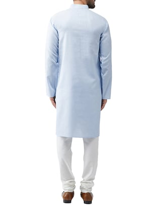 blue cotton kurta pyjama set - 15415923 - Standard Image - 2