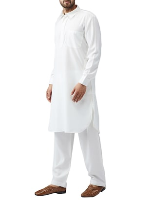 white cotton pathani set - 15415939 - Standard Image - 2