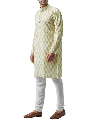 green cotton kurta pyjama set - 15415979 - Standard Image - 2