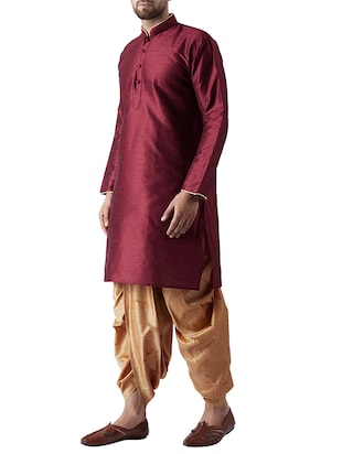 maroon and gold silk blend dhoti kurta set - 15415996 - Standard Image - 2