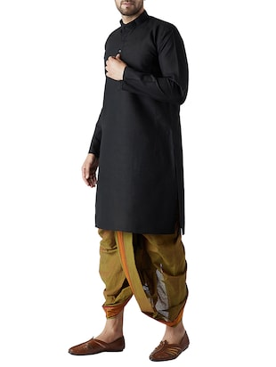 black and green cotton dhoti kurta set - 15416019 - Standard Image - 2