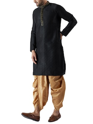 black and gold silk blend dhoti kurta set - 15416032 - Standard Image - 2