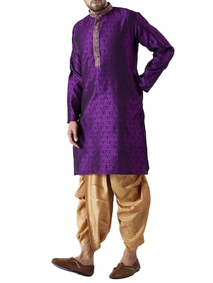 purple and gold silk blend dhoti kurta set - 15416034 - Standard Image - 2