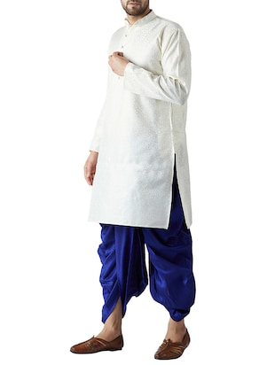 white and royal blue silk blend dhoti kurta set - 15416035 - Standard Image - 2