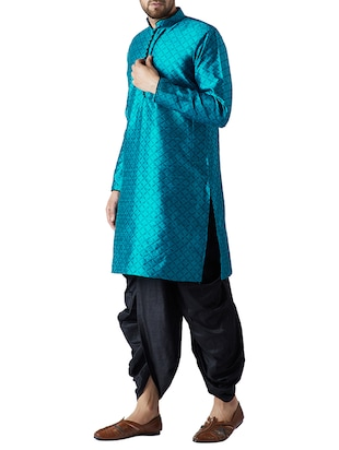 blue and black silk blend dhoti kurta set - 15416039 - Standard Image - 2