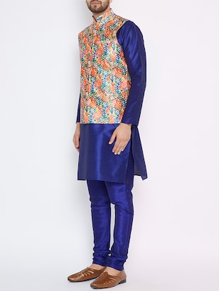 blue silk blend kurta pyjama set with nehru jacket - 15416074 - Standard Image - 2