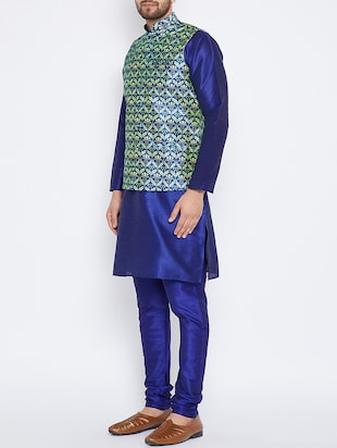 blue silk blend kurta pyjama set with nehru jacket - 15416075 - Standard Image - 2