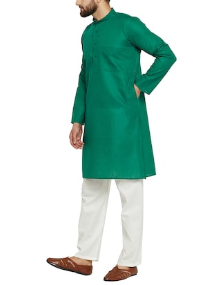 dark green cotton kurta pyjama - 15416087 - Standard Image - 2