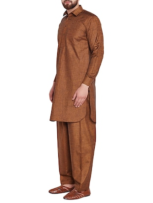 brown cotton pathani set - 15416092 - Standard Image - 2