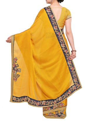 floral border patchwork saree with blouse - 15416244 - Standard Image - 2