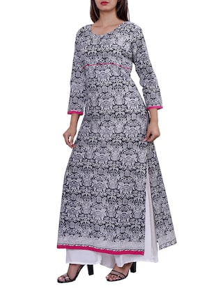 straight printed long kurta - 15416316 - Standard Image - 2