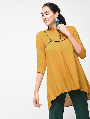 Contrast Piping detail asymmetric tunic - 15416343 - Standard Image - 1