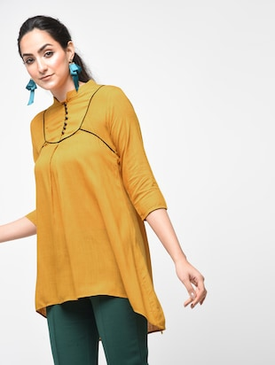 Contrast Piping detail asymmetric tunic - 15416343 - Standard Image - 2