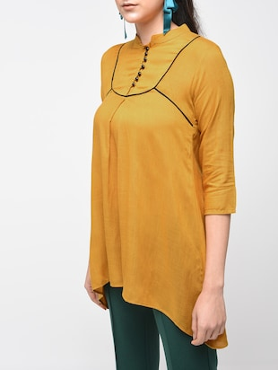 Contrast Piping detail asymmetric tunic - 15416343 - Standard Image - 5