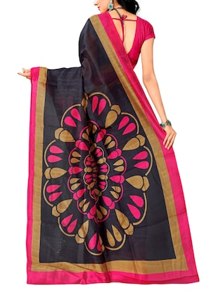 Contrast bordered bhagalpuri saree with blouse - 15416455 - Standard Image - 2