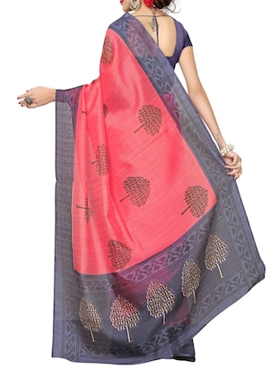 Contrast bordered bhagalpuri saree with blouse - 15416459 - Standard Image - 2