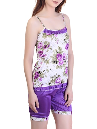 floral nightwear shorts set - 15416605 - Standard Image - 2