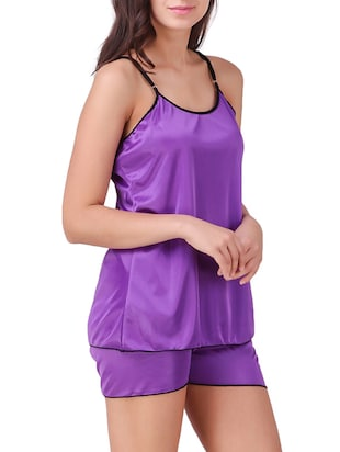 solid nightwear shorts set - 15416607 - Standard Image - 2