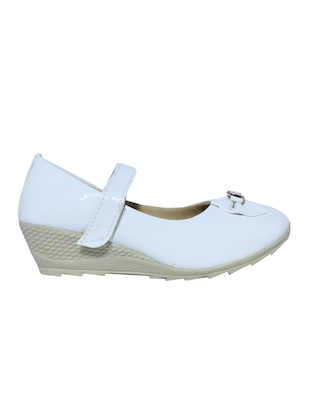 white leatherette heel wedges - 15416700 - Standard Image - 2