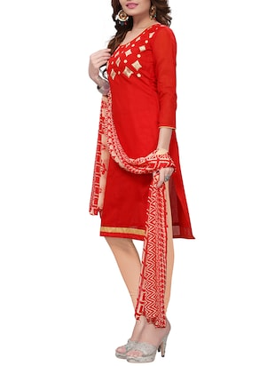 Embroidered unstitched churidaar suit - 15416901 - Standard Image - 2