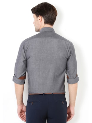 grey cotton casual shirt - 15417063 - Standard Image - 2