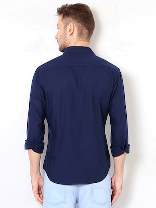 navy blue cotton casual shirt - 15417069 - Standard Image - 2