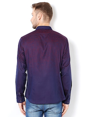 purple cotton casual shirt - 15417071 - Standard Image - 2