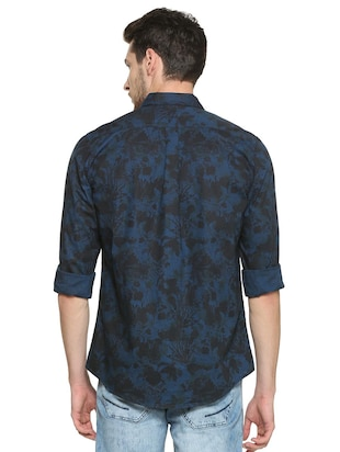 blue cotton casual shirt - 15417096 - Standard Image - 2
