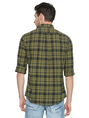 green cotton casual shirt - 15417097 - Standard Image - 2