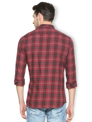 red cotton casual shirt - 15417100 - Standard Image - 2
