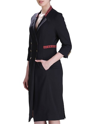 lapel neck coat dress - 15417251 - Standard Image - 2