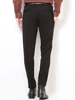 black terry rayon pleated formal trouser - 15417342 - Standard Image - 2