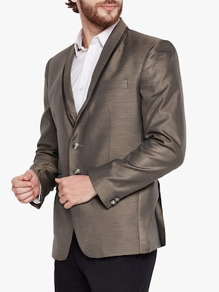 beige cotton blend casual blazer - 15417713 - Standard Image - 2