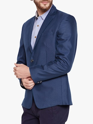 blue cotton blend casual blazer - 15417718 - Standard Image - 2