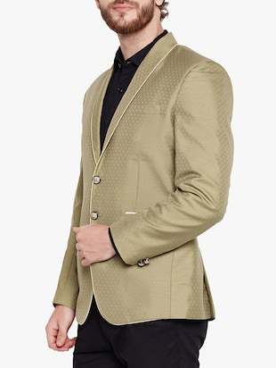beige cotton blend casual blazer - 15417732 - Standard Image - 2