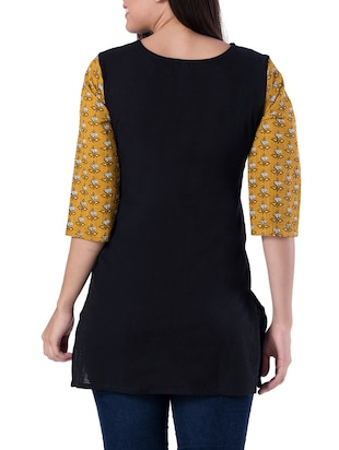 black cotton straight kurti - 15418155 - Standard Image - 2