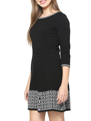 a-line geometric knitted dress - 15418264 - Standard Image - 2
