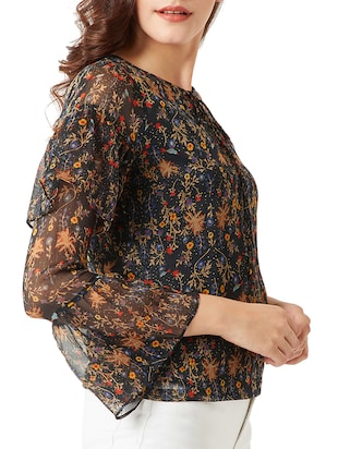 tie-up neck bell sleeved floral top - 15419077 - Standard Image - 2